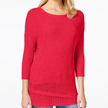 Calvin Klein Jeans Crew-Neck Three-Quarter-Sleeve Sweater - Sweaters - Women - Macy's
