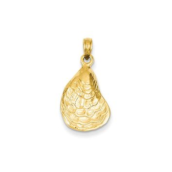 14k Yellow Gold Oyster Shell Pendant