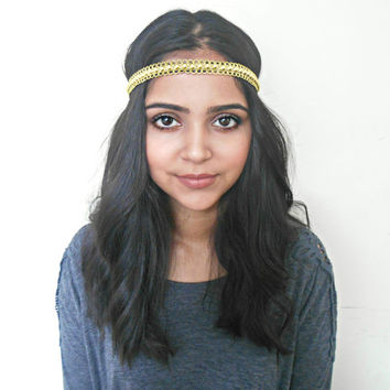 Yellow Gold Hippie Headband Hair Accessories Bohemian Gold Headband Indie Headband