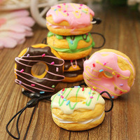 Cream Scented Donut Fruit Squishy Bread Keychain Bag Phone Charm Strap 4.5cm  TB