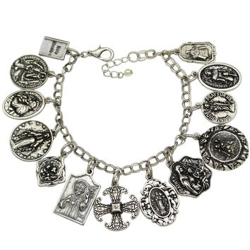 Catholic Religious Church Medals Saints PRAY FOR US Cross Chain Bracelet Bangle Jewelry 2017 New