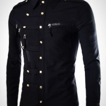 Men's Fashion Casual Slim Long-sleeved Shirt.4 Colors M-XXL [10312511939]