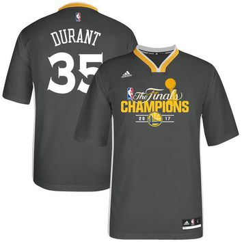 Men's Golden State Warriors Kevin Durant adidas Charcoal 2017 NBA Finals Champions Alternate Jersey