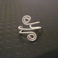 "Non Pierced Sterling Silver ""Twisted Spiral"" Ear Cuff Conch Cartilage Twisted Wire"