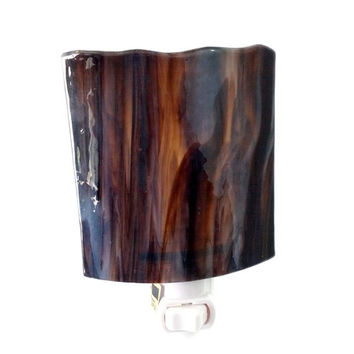 Nightlight with Decorative Brown Stained & Fused Glass - Home Accent