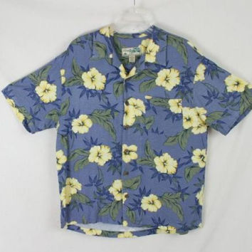 Mens size L Blue Yellow Rayon Havana Jacks  Hawaiian Shirt Aloha Party Summer