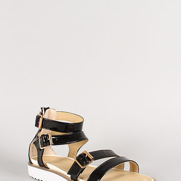 Triple Buckle Patent Leatherette Strappy Flat Sandal