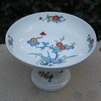 Vintage Footed Pedestal Bowl - Bernardaud Limoges Pak Hoi, floral china pattern