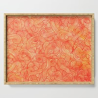 Red and orange swirls doodles Serving Tray by savousepate
