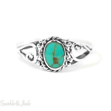 Sterling Silver Oval Turquoise Roped Scroll Ring