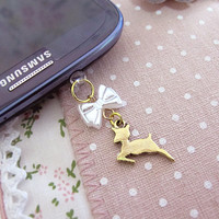 Lovely Little Golden Fawn Deer and White Ribbon iPhone 4/4s iPhone 5 Dust Plug Dust Cap Earphone Jack Ipod Ipad Deco