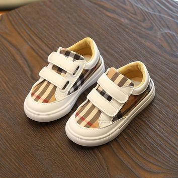 Fashion Toddler Kids Sport Plaid Striped Canvas Sneakers Unisex