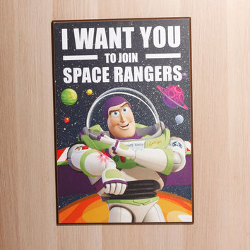Disney Pixar Toy Story Buzz Wants You Wood Wall Art
