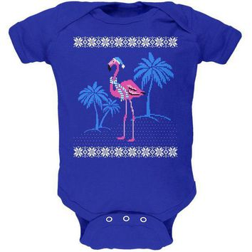 ICIK8UT Flamingo Winter Ugly Christmas Sweater Soft Baby One Piece