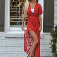 To Die For Gypsy Lace Sheer Maxi Dress/Romper Red