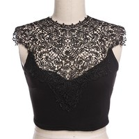 FINEJO Women Lace Crop Top Sleeveless Vest Cut Out Bra Bustier Tank Bralet