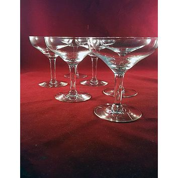 Set of 5 Champagne Coupes with Curved In Rim