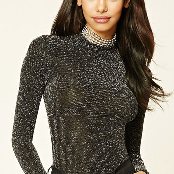 Metallic Mock-Neck Bodysuit