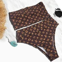 LV BIKINI Louis Vuitton Coffee Two Piece Off Shoulder High Waist Swimming