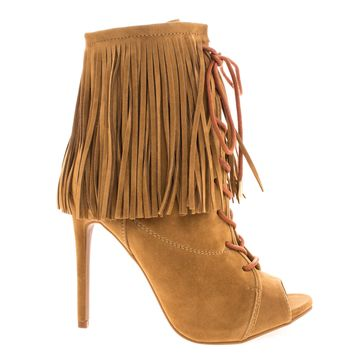 Pompeo Chestnut Boho Peep Toe Fringe Ankle Boots w/ Corset Lace Up High Heel Shoes