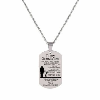 Sentiment Tag Necklace - To Grandpa From Granddaughter