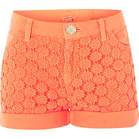 River Island Girls orange denim lace panel shorts