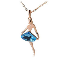 Rigant Dancing Girl 18K RGP Diamond Necklace (Blue)