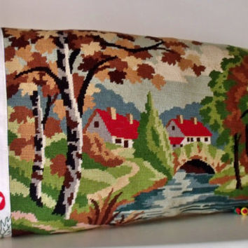 French Tapestry Needlepoint Country Cottage Scene & Embroidery  Antique Linen Bolster Pillow Cushion Cover