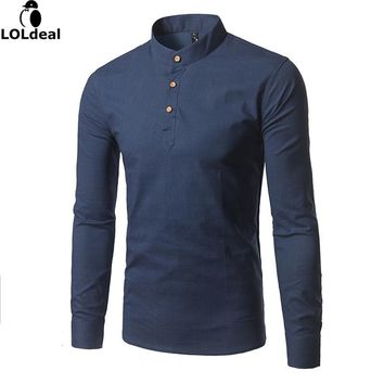 Spring  New Arrival Striped Casual Shirts Men  Mandarin Collar Cotton and Linen Slim Fit Brand Clothing