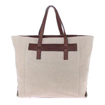 Dolce & Gabbana Brown Linen Leather Gym Travel Tote Bag