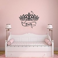 Wall Decals Custom Name Personalized Girls Name Crown Princess Name Girls Baby Nursery Kids Wall Vinyl Decal Stickers Bedroom Murals