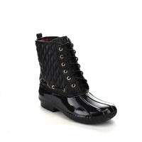 Beston DA09 Women's Lace Up Quilted Combat Calf Rain Duck Boots One Size Small, Color:BLACK, Size:10