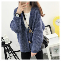 Women's Loose Button Down Kitted Sweater Cardigan Outwear