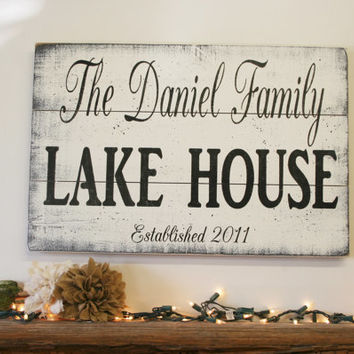 Lake House Sign Pallet Sign Name Sign Personalized Sign Custom Sign Beach House Sign Welcome Sign Distressed Wood Handmade Handpainted