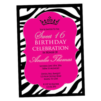 Hot Pink Zebra Birthday Invitations - Sweet 16 Invitation - Hot Pink Sweet 16 Invite - Zebra Invitations - Trendy Chic Girl - Teen Birthday