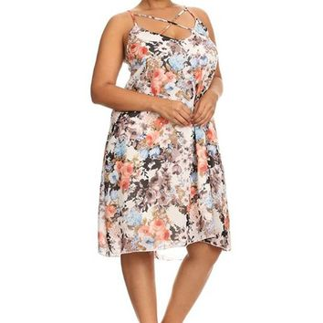 Plus Size Floral Print Strappy Relaxed Sleeveless Midi Dress