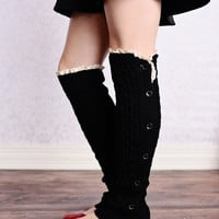 Cable Knit Button Down Boot Socks Black Leg Warmers