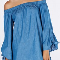 All Denim Off Shoulder Tunic