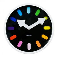 Online Interior Design | Let the Pictogram Rainbow Wall Clock from Karlsson point you in the right direction all the time in the shape of striking multicoloured hour marks with bold white arrow hand dials.
