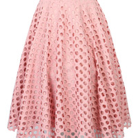 Pink Laser Hole Cut Skater Skirt