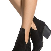 Black Faux Suede Chunky Cut Out Booties @ Cicihot. Booties spell style, so if you want to show what you're made of, pick up a pair. Have fun experimenting with all we have to offer!