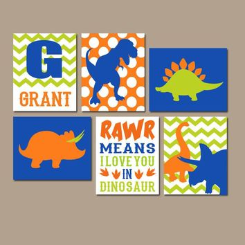 DINOSAUR Wall Art, DINOSAUR Canvas or Prints, Dino Theme, Rawr Means I Love You, Baby Boy Nursery Decor, Big Boy Bedroom Pictures, Set of 6
