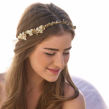 Twisted Golden Berry Woodland Wedding Wreath with Flowers, Wedding Flower Crown, Wedding Headpiece, Festival Halo Tie Headband