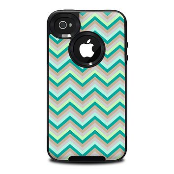 The Vintage Subtle Greens Chevron Pattern Skin for the iPhone 4-4s OtterBox Commuter Case