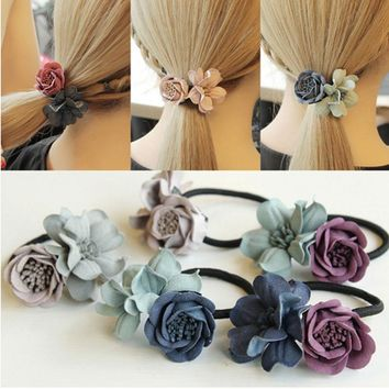 M MISM Girl Double Flower Scrunchy 3D Gum For Hair Elastic Hair Bands For Women Cute Rubber Bands Solid Ponytail Accessories New