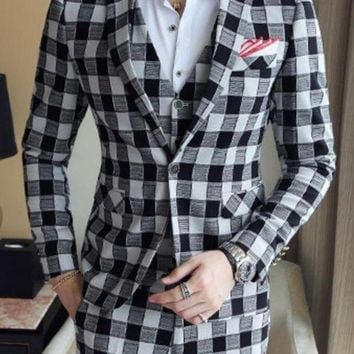 DCCKON3 wedding suits forMens red tuxedo plaid suitsMenskorea anzug social business suits formal wear stage stylish slim fit