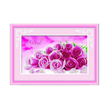 3D Diamond Painting Romantic Love Pink Rose Square Diamond Full-jewelled Living Room Bedroom Diamond Paste Diamond Stitch Cross Stitch
