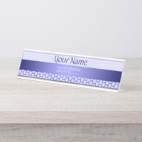 Blue pattern. Grid and silk band. Add your text. Desk Name Plate