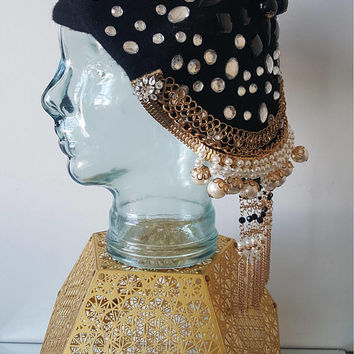 Black Jeweled Beret,  Charm Beret, Bejeweled Beret, Rhinestone Beret, Bling Hat, Embellished Wool Beret, French Unique Beret, Beanie