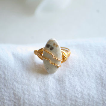 Jasper Stone Ring - Gold Wire Wrapped Jasper Stone Ring - White Jasper Ring - Wire Wrapped Ring - Jasper Wire Wrapped - Boho Ring